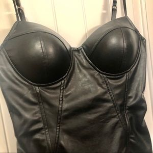 Black Faux Leather Corset Top